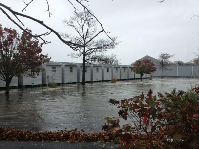 Shenorock Shore Club on Milton Point 10 Hours before the storm made landfall.  First high tide of the storm.