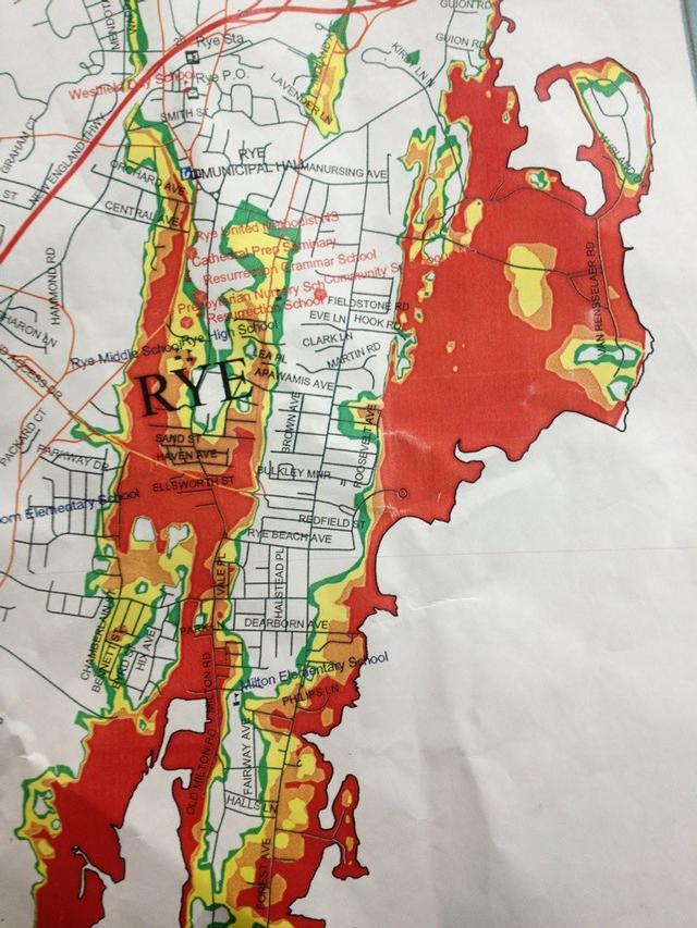 Evacuation Map. Areas in Rye were under a Mandatory evacuation